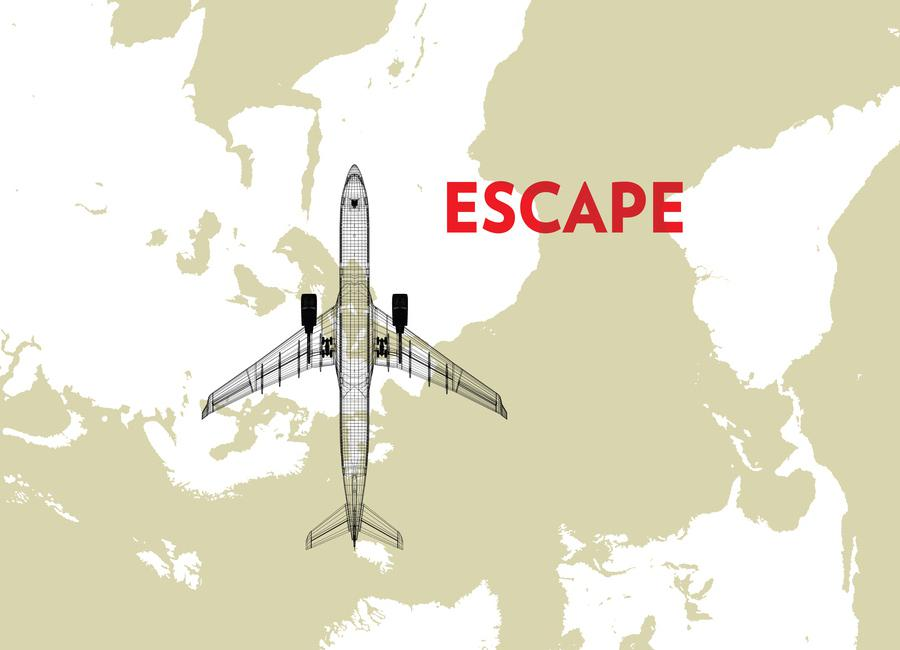Escape Air Travel Map canvas doek