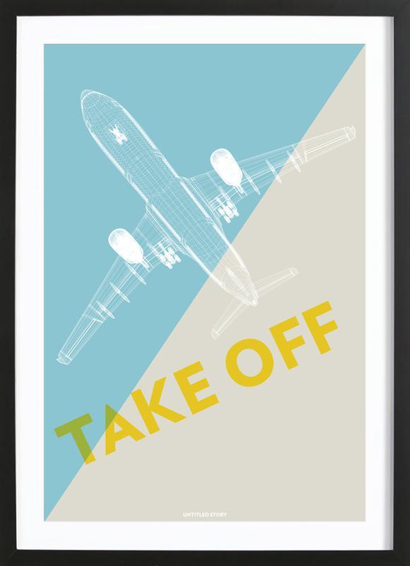 Take Off A340 affiche sous cadre en bois
