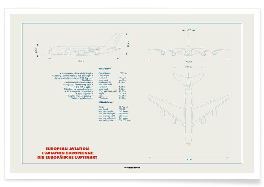 Technical Drawing A380 affiche