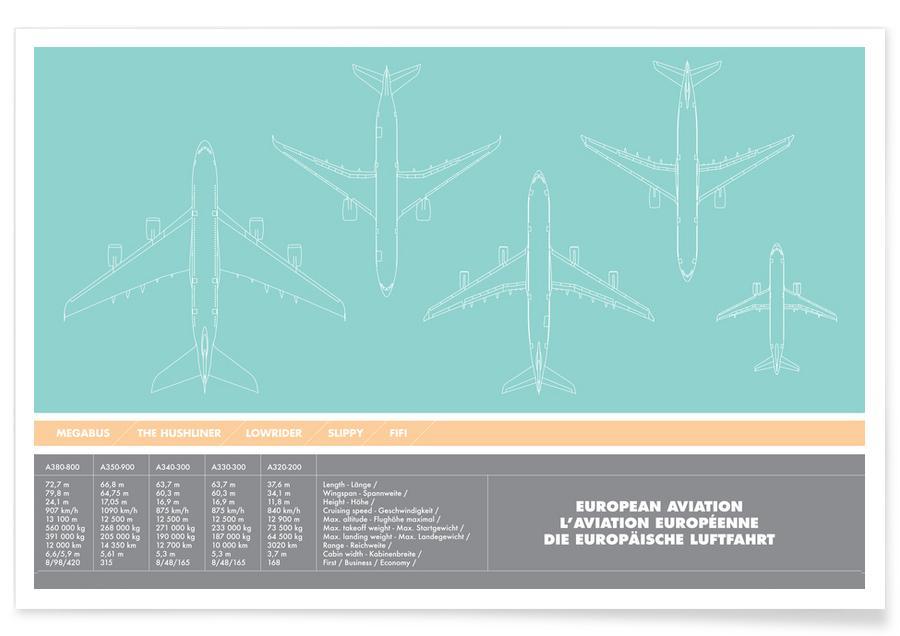 Flugzeuge, European Aviation Green -Poster