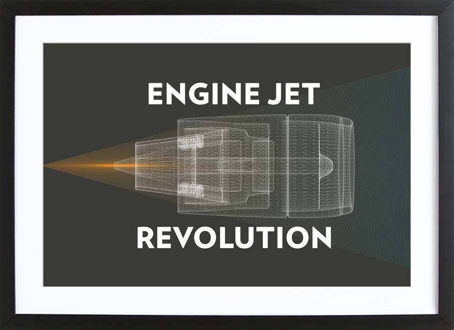 Engine Jet Reactor Dark -Bild mit Holzrahmen