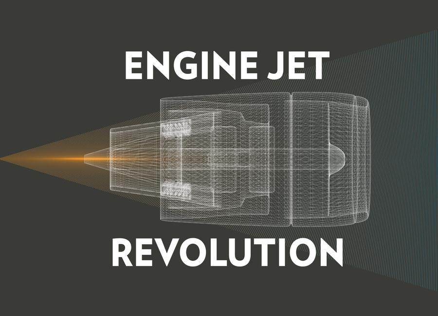 Engine Jet Reactor Dark canvas doek
