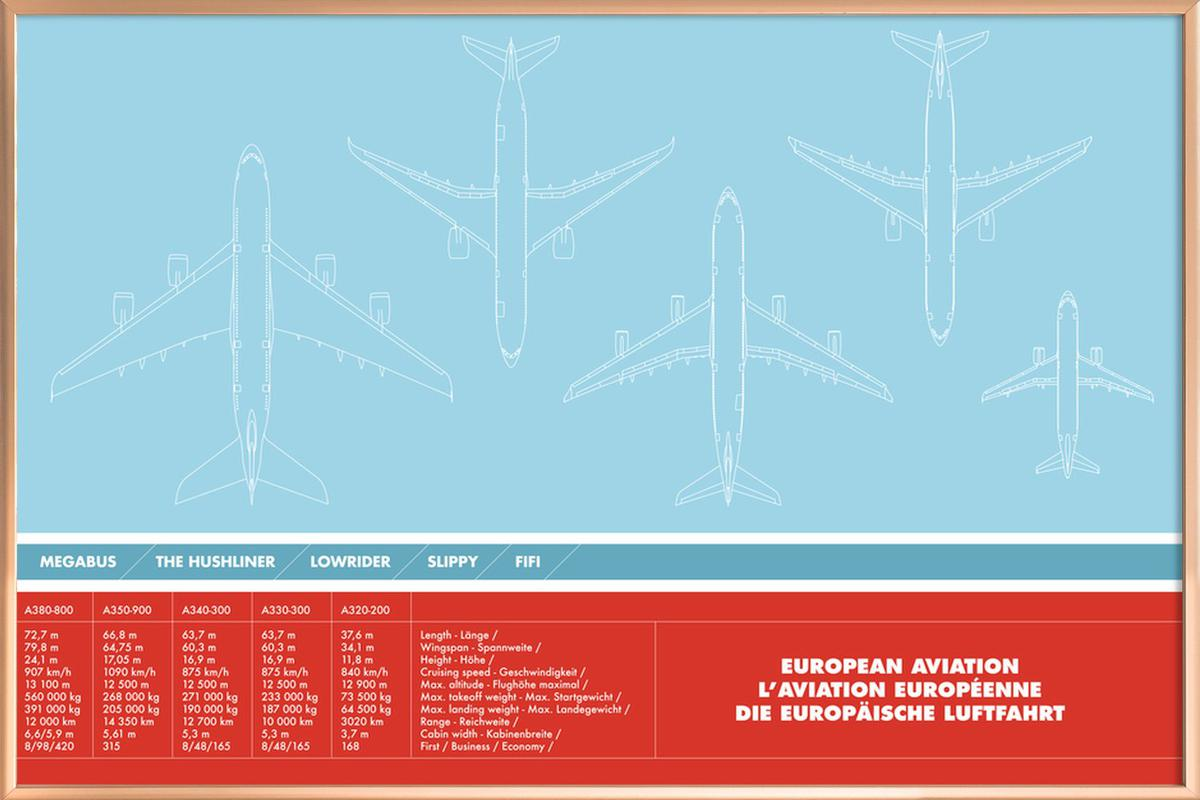 European Aviation Poster in Aluminium Frame