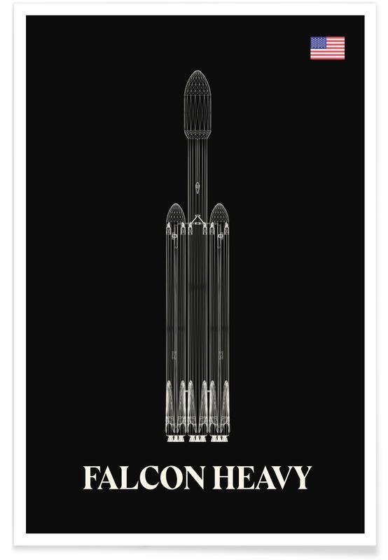 Raumschiffe & Raketen, Falcon Heavy-Rakete -Poster