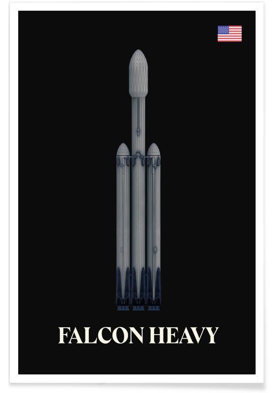 Raumschiffe & Raketen, Falcon Heavy-Raumschiff -Poster