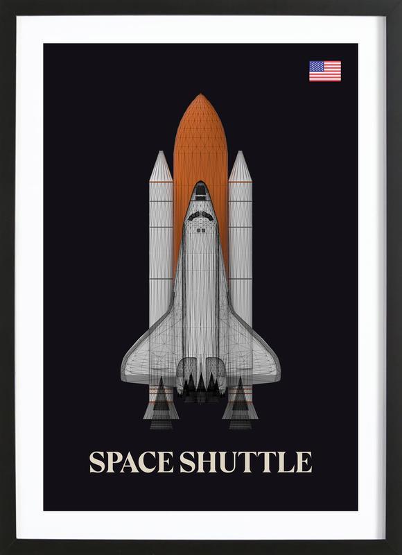 NASA Space Shuttle 1 -Bild mit Holzrahmen