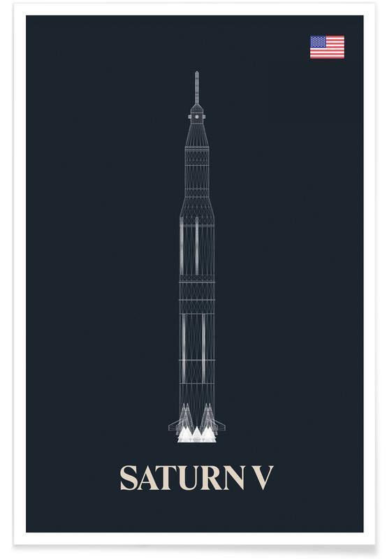Ruimteschepen en raketten, Saturn V ruimteschip poster