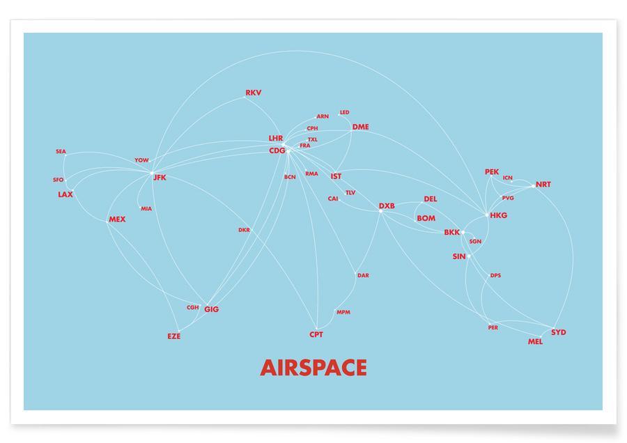 Voyages, Cartes du monde, Airspace Map Blue affiche
