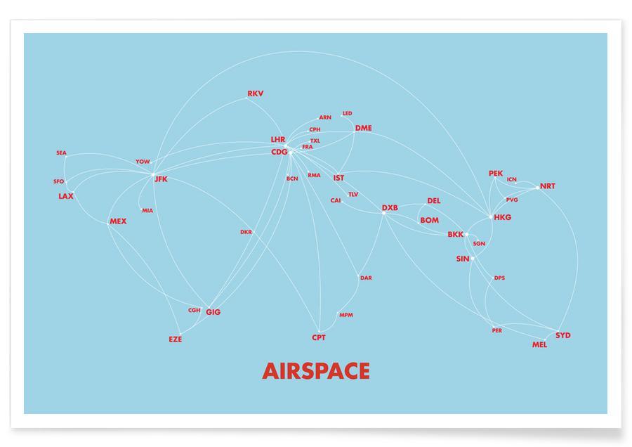 Rejser, Verdenskort, Airspace Map Blue Plakat