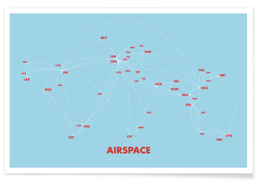Airspace Map Blue Poster