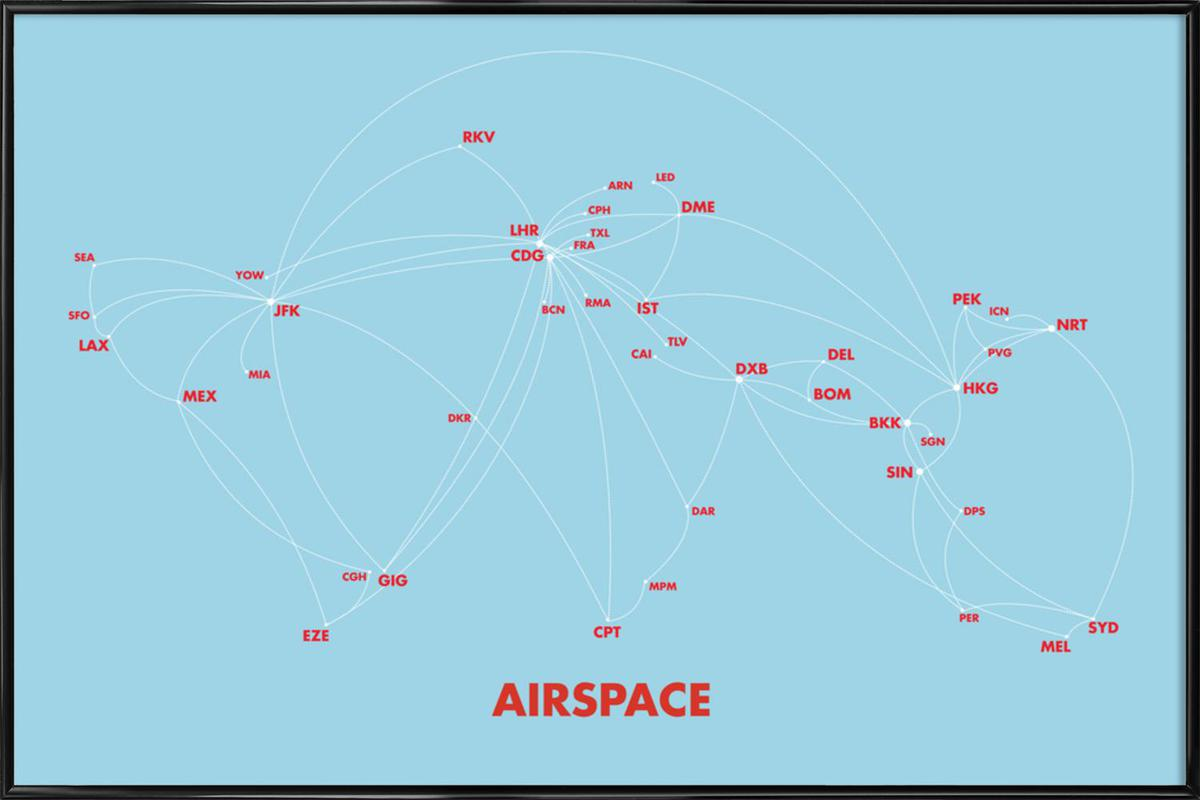 Airspace Map Blue Framed Poster