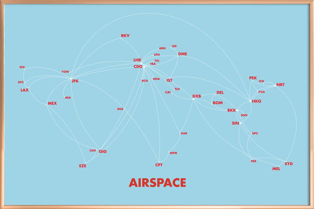 Airspace Map Blue poster in aluminium lijst