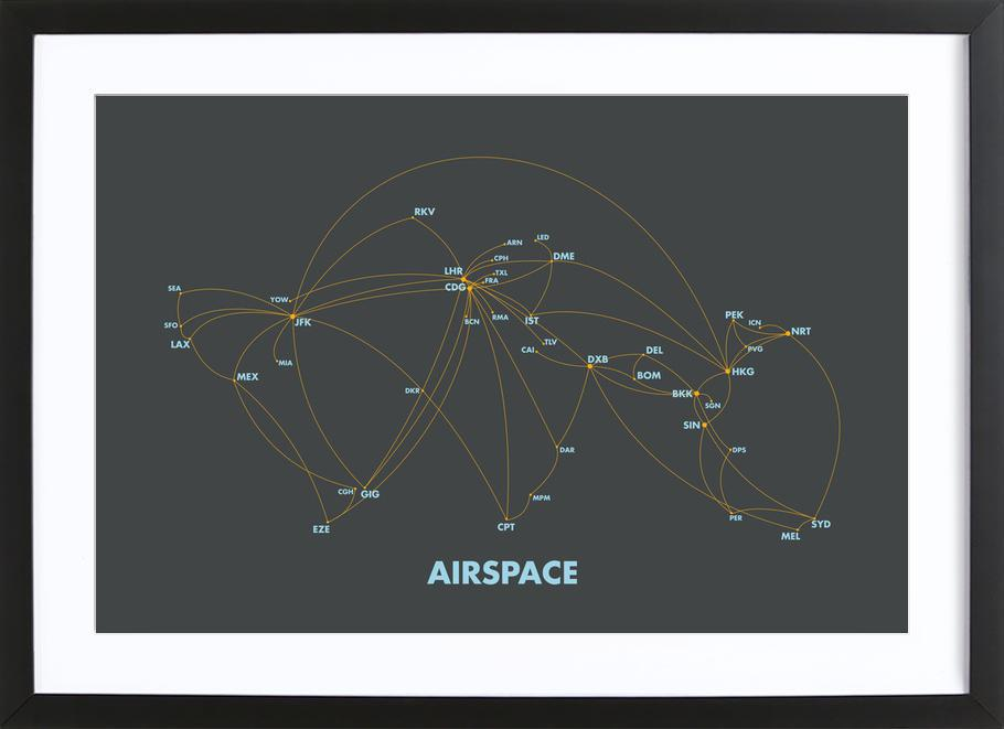 Airspace Map Dark -Bild mit Holzrahmen