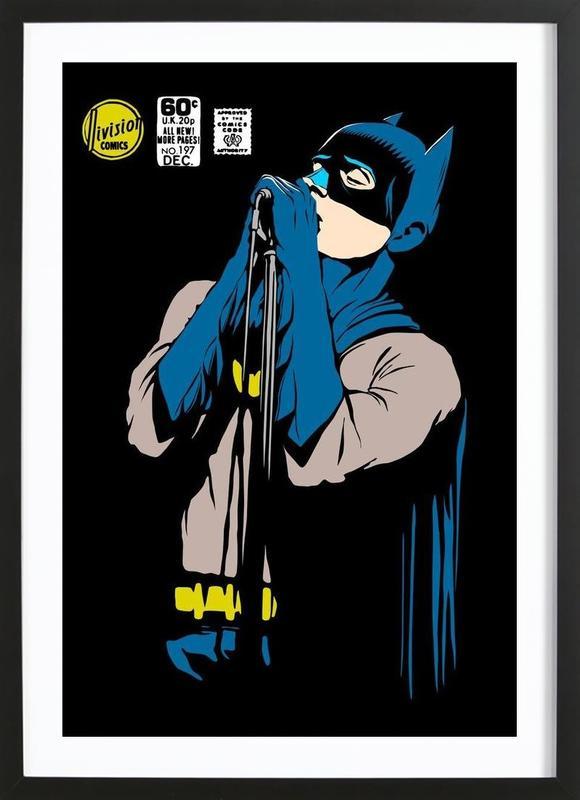Post-Punk Dark Knight - Shadowplay -Bild mit Holzrahmen