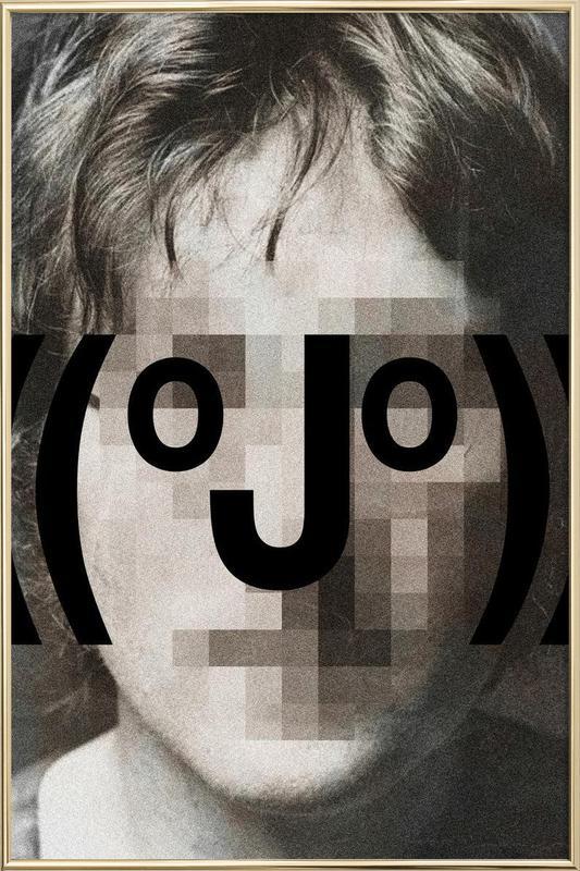 Retro Pop Emoticons John Poster in Aluminium Frame