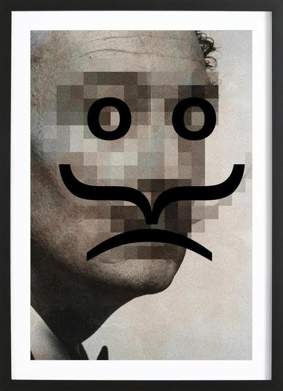 Retro Pop Emoticons Salvador -Bild mit Holzrahmen