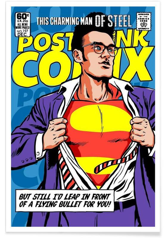 Post-Punk Comix- Super Moz - This Charming Man of Steel -Poster