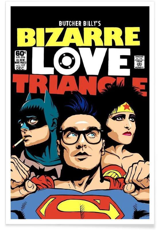 Superman, Rock, Batman, Pop Art, Bizarre Love Triangle Poster