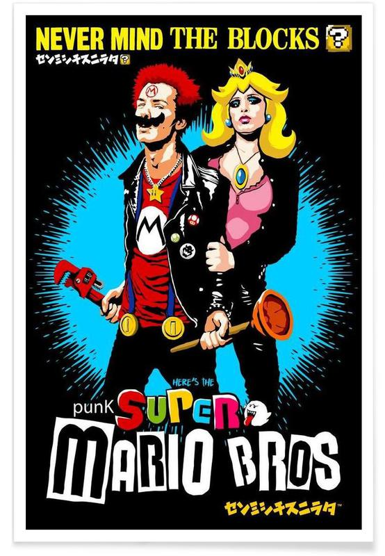 Pop Art, Punk Super Mario Bros - Never Mind the Blocks affiche