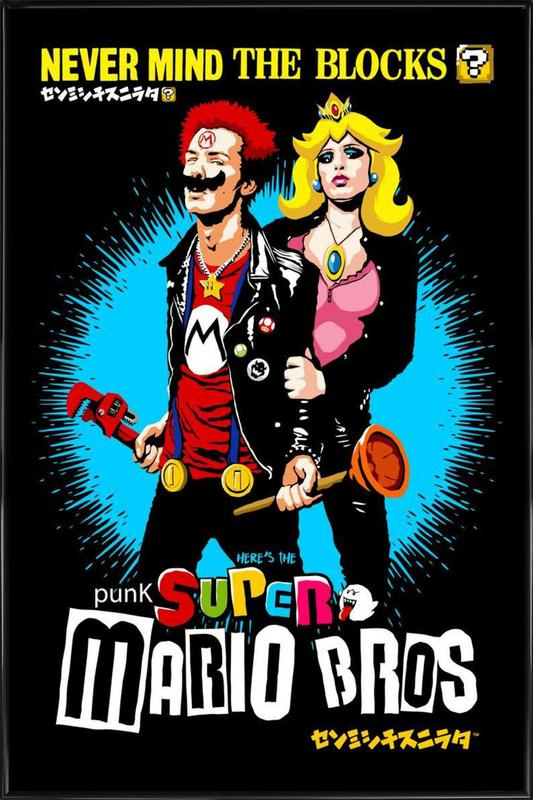 Punk Super Mario Bros - Never Mind the Blocks -Bild mit Kunststoffrahmen