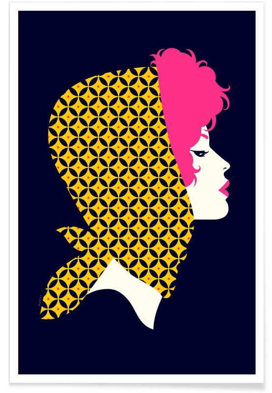 Porträts, Vintage Girl -Poster