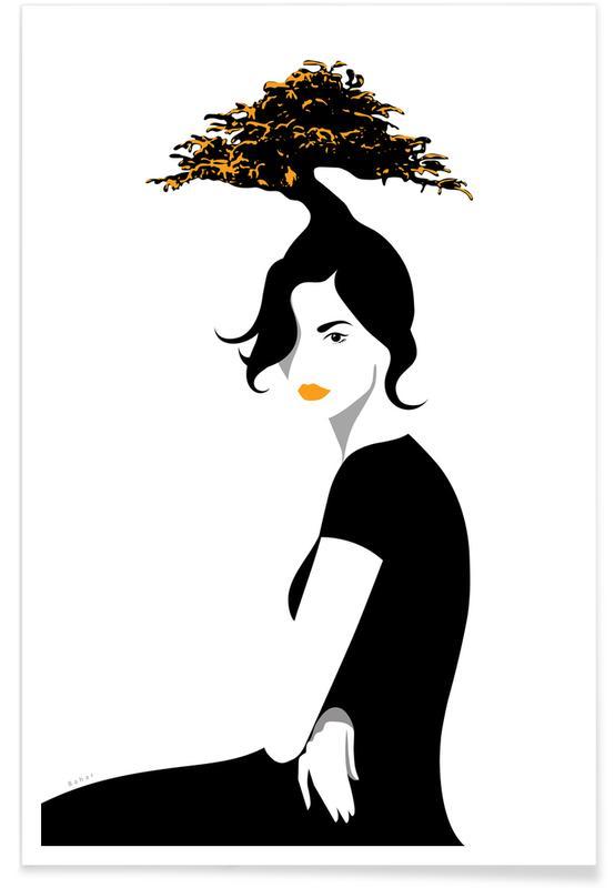 Portraits, Noir & blanc, Bonsai affiche