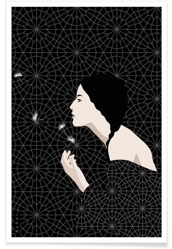 Pissenlits, Noir & blanc, Dandelion affiche