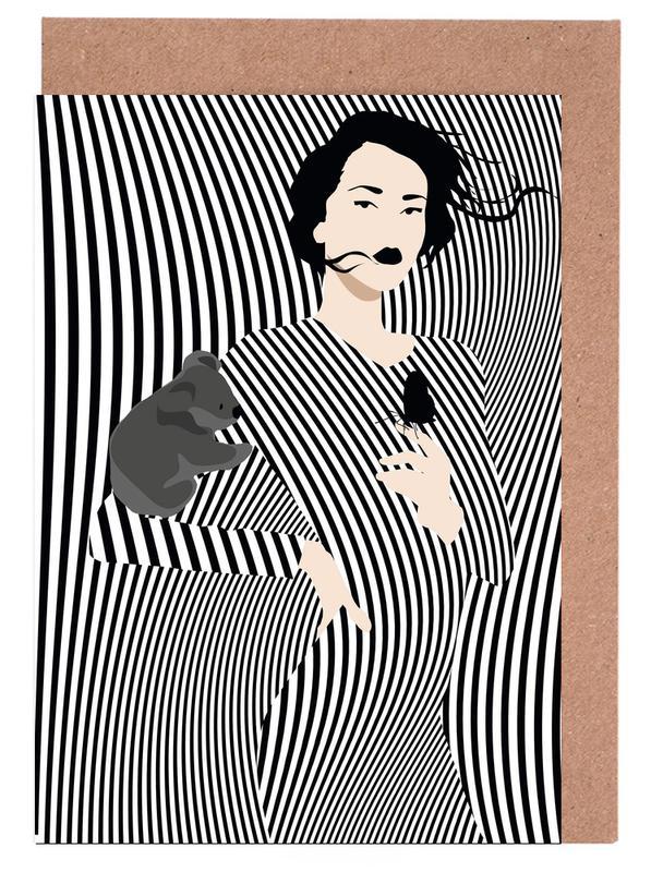 Black & White, Fashion Illustrations, Koala Greeting Card Set