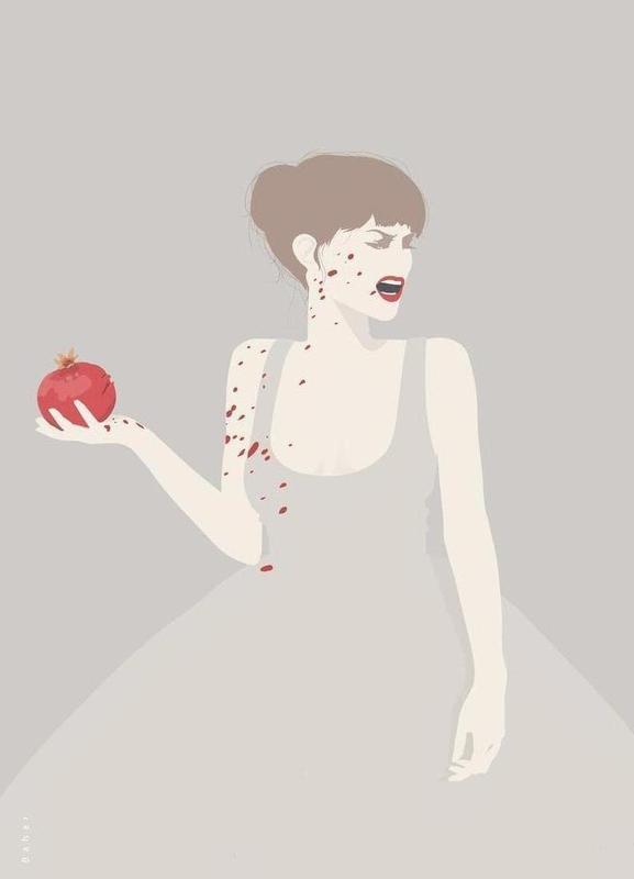 Pomegranate canvas doek