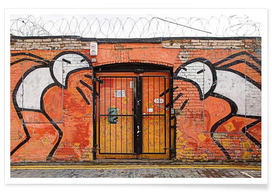 Street Art, Streetart Orange affiche