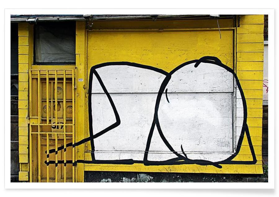 Street Art, Streetart Gelb 3 affiche