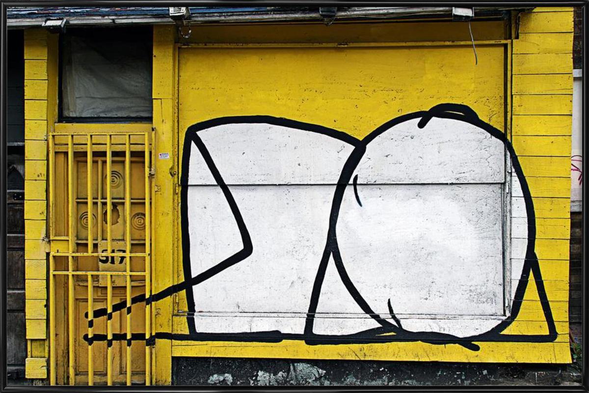 Streetart Gelb 3 -Bild mit Kunststoffrahmen