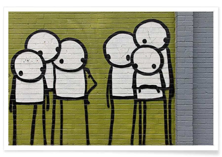 Street Art, Streetart Grün 3 affiche