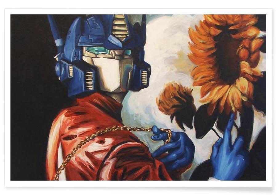 Optimus Prime With Sunflower Poster