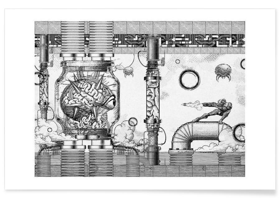 , Metroid Mother Brain Vintage Scene affiche