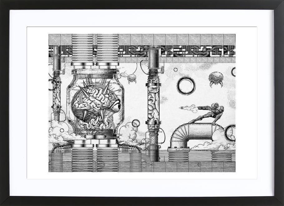 Metroid Mother Brain Vintage Scene -Bild mit Holzrahmen