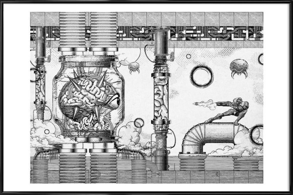 Metroid Mother Brain Vintage Scene -Bild mit Kunststoffrahmen