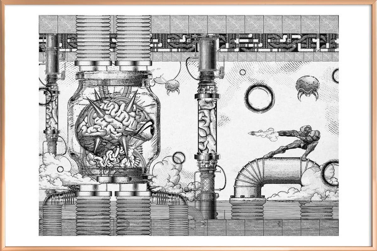 Metroid Mother Brain Vintage Scene -Poster im Alurahmen