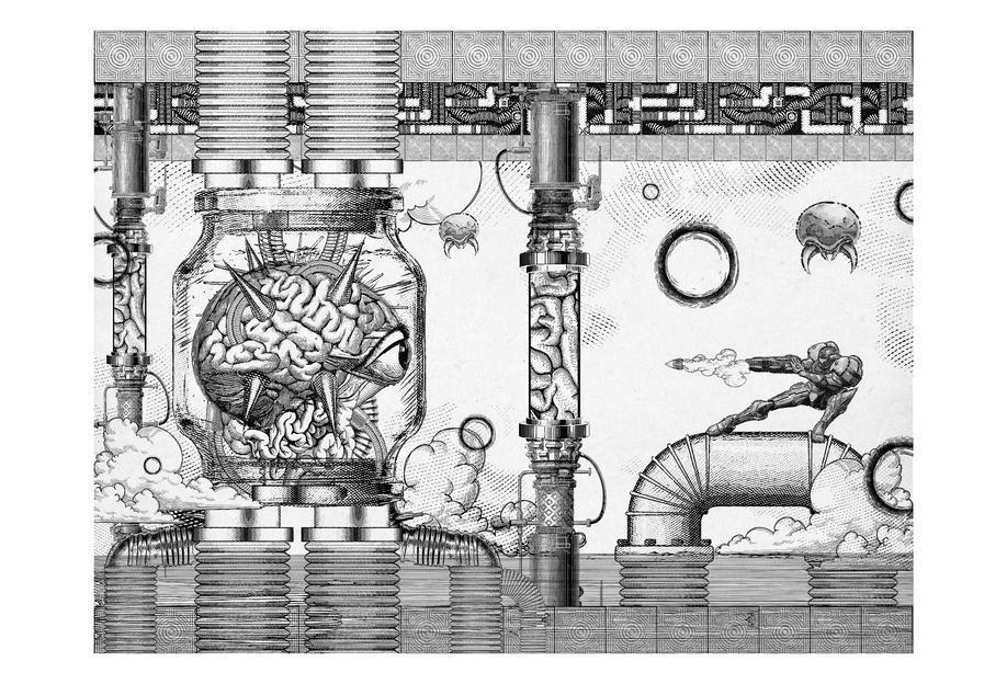 Metroid Mother Brain Vintage Scene -Alubild
