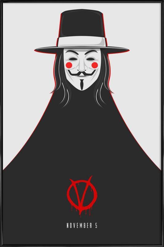V for Vendetta Minimal November 5 -Bild mit Kunststoffrahmen