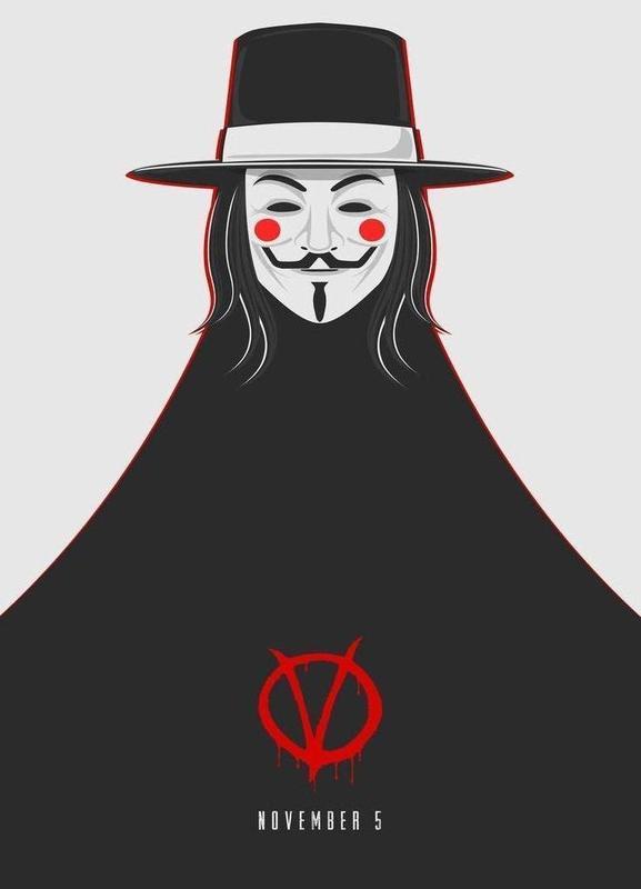 V for Vendetta Minimal November 5 canvas doek