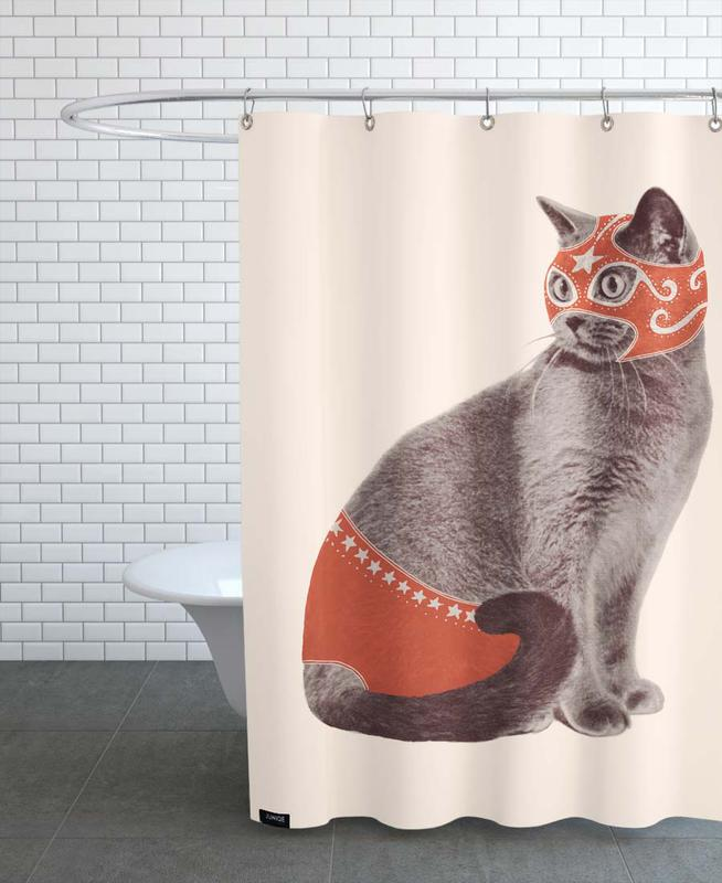 Lustig, Katzen, Chat Catcheur Print -Duschvorhang