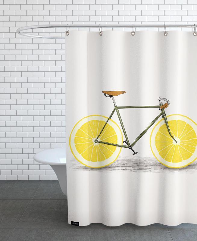 Bicycles, Lemons, Retro, Zest Shower Curtain