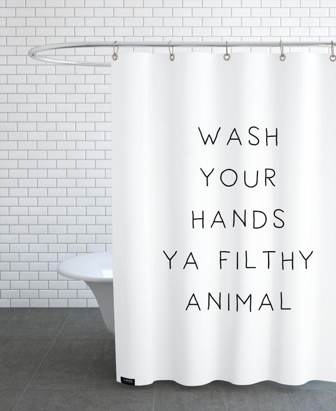 Housewarmings, Funny, Black & White, Quotes & Slogans, Filthy Shower Curtain