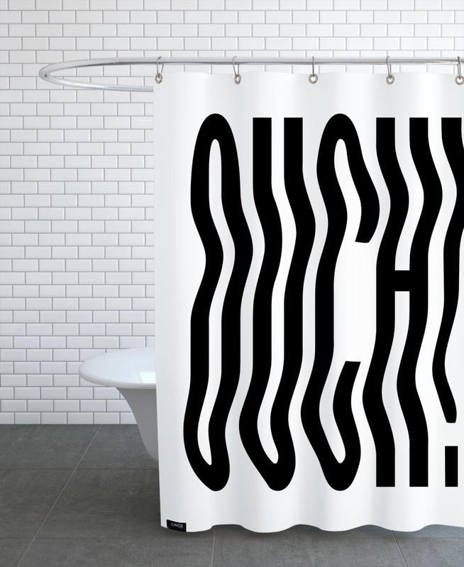Black & White, Ouch Wavy Shower Curtain
