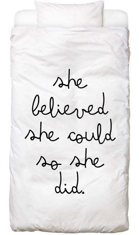 Schwarz & Weiß, Motivation, Zitate & Slogans, she -Kinderbettwäsche