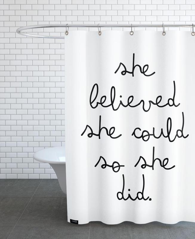 Black & White, Motivational, Quotes & Slogans, she Shower Curtain