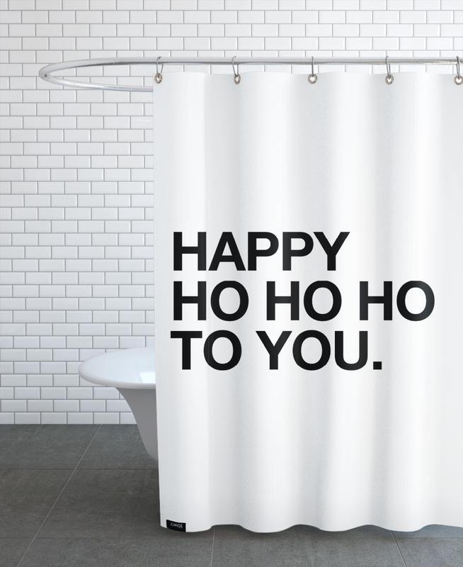 Christmas, Black & White, Quotes & Slogans, Ho Ho Ho Shower Curtain