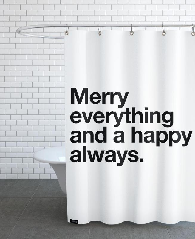 Black & White, Quotes & Slogans, Merry Shower Curtain