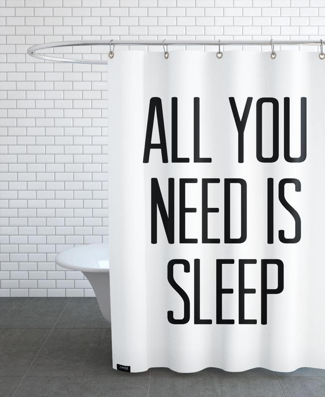 Black & White, Funny, Quotes & Slogans, Sleep Shower Curtain